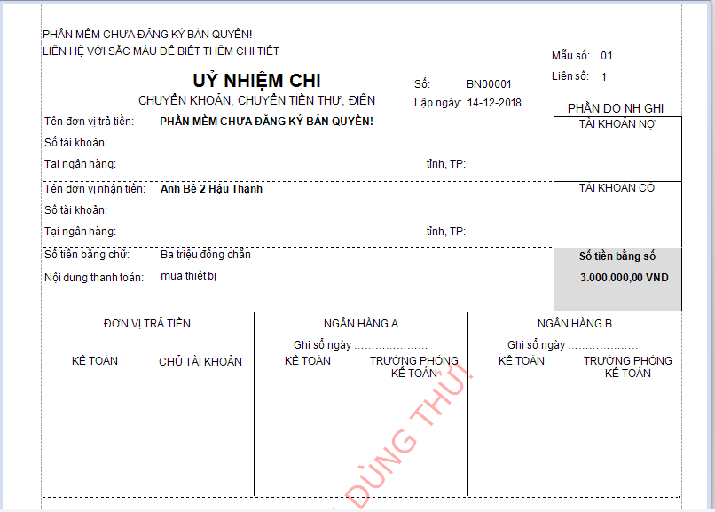 download giấy báo nợ của ngân hàng